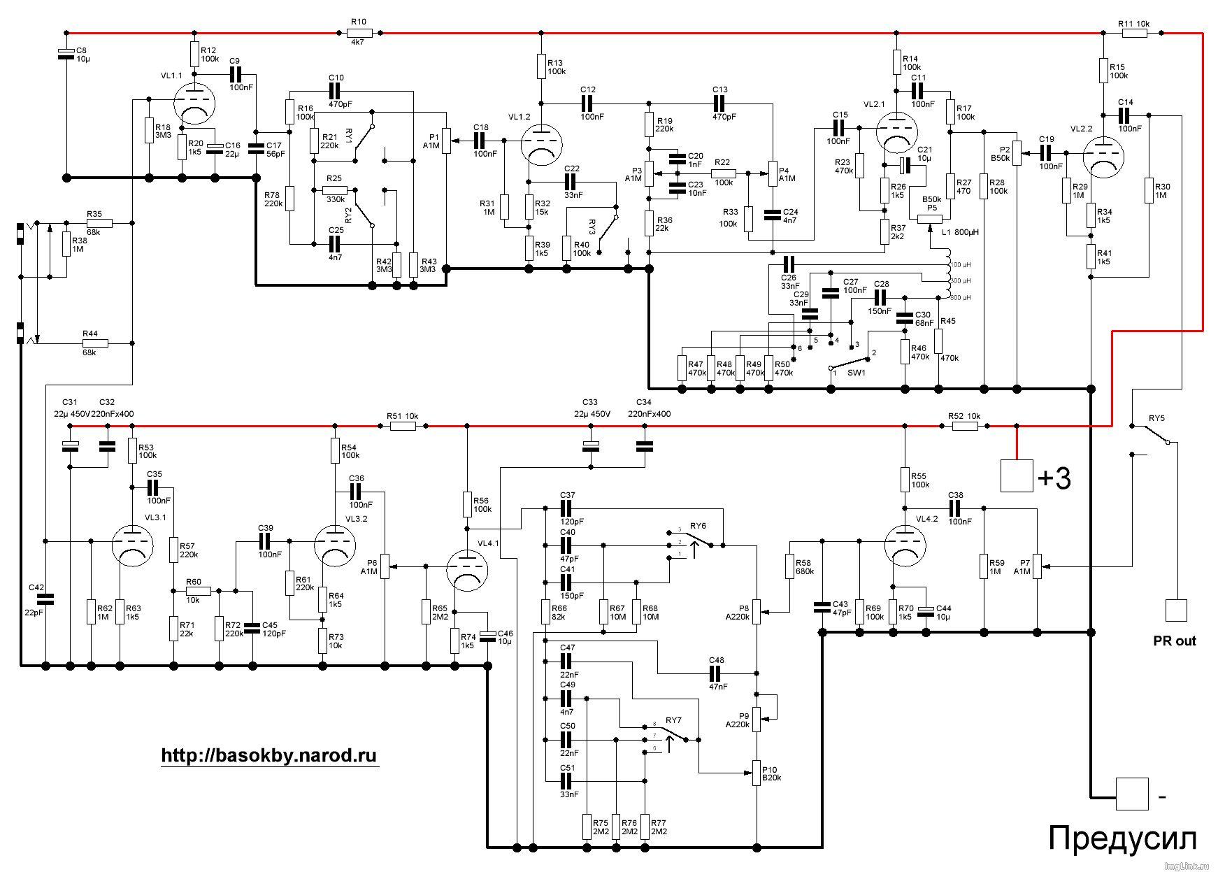 Предварительный усилитель темброблоком схема